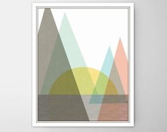 Nursery Art, Mountain Art, girl Nursery Art, Mint and peach Mountains, girl Nursery, Nursery girl, Geometric Print, Scandinavian Modern