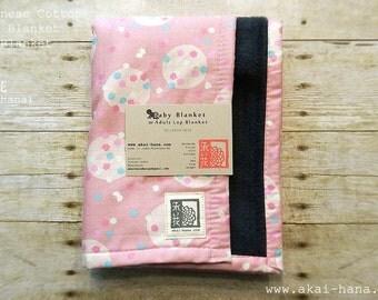 Baby Blanket/Adult Lap Blanket with Japanese Cotton & Fleece, Konpeitou (confeito) Pink