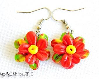 Dangle flower earrings Polymer clay flower earrings Polymer clay jewelry Clay flowers Floral earrings Nature earrings Birthday earrings