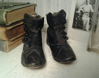Antique Victorian High Top Children's Shoes