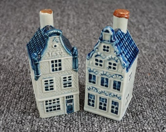 Vintage Delft Rynbende Bottle Houses Set Of 2