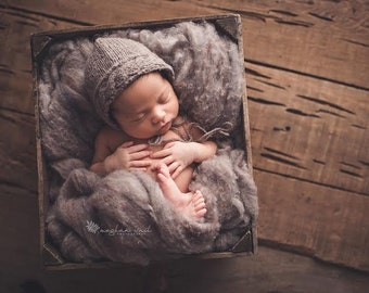 River Rock Rustic Wool Fluff - newborn photo prop - gray wool batting - basket stuffer