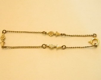 Gold Tone With Flower Accents Bracelet
