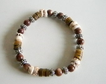 Silver Tone All Natural Color Brown Glass Beads with Puka Shells Stretchy Bracelet