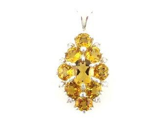 Natural Yellow Golden Citrine 925 Sterling Silver Cluster Pendant