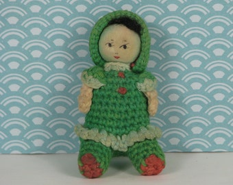 Vintage crochet doll Chinese 1970s green red
