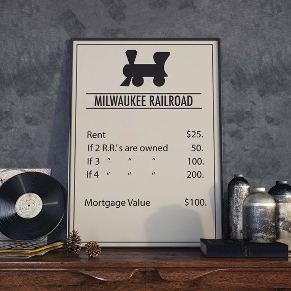 Monopoly inspired Milwaukee Railroad Poster, Board Game Print, Wall ...