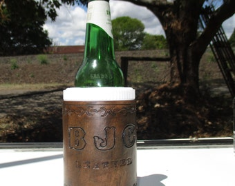 Personalized Leather Drink Holder, Stubby holder, Can cooler,