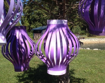 Purple Paper Lanterns, Paper Decor, Wedding, Shower, Party, Country Chic