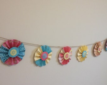 Teal, Coral, Yellow Rosette Garland, Country Chic, Wedding, Shower, Party, Banner, Craftpaper