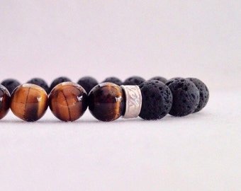 Mens lava and tigers eye bracelet with sterling silver, boyfriend gift, mens bracelet, lava bracelet, Father's Day gift, dad gift