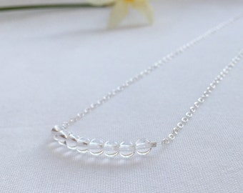 Crystal Quartz necklace, April birthstone necklace, wedding ideas, clear crystal quartz jewellery, girlfriend gift, daughter gift, Spring