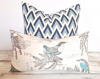 "Vintage Birds Lumbar Pillow Cover 12"" x 20"", Decorative Accent Pillow, Home Decor"