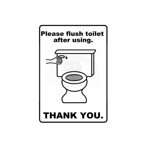 Please Flush Toilet Bathroom Sign Printable Instant By CyberNation