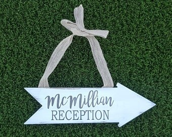 Personalized wedding sign, rustic wedding sign, rustic wedding decor, reception sign, arrow sign, burlap wedding sign, wedding sign