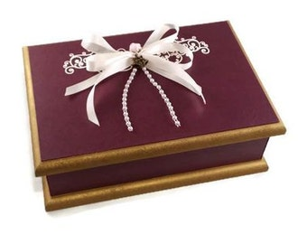 Wedding Keepsake Box - Burgundy & Gold