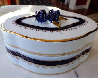 Hollohaza Hungary Porcelain Dresser Vanity Jewelry Trinket Box Cobalt Blue and Gold Flowers
