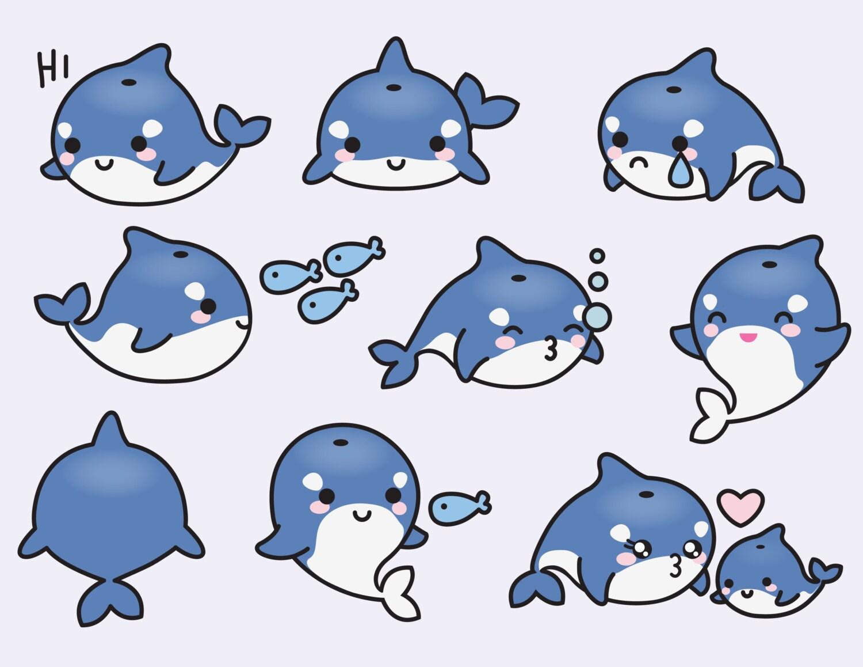Premium Vector Clipart Kawaii Orcas Cute by ...