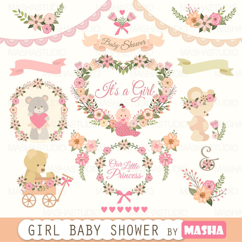 Baby shower clipart: Girl Baby Shower clipart with