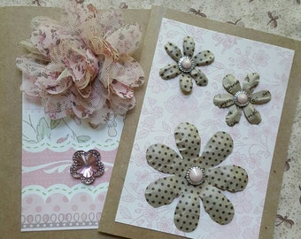 Handmade card, blank card, floral card, embellished cards, greeting cards, any occasion cards, pink cards