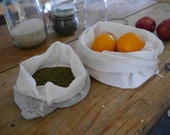 TWO produce bags,Organic cotton bag, Bulk bag, Reusable food bag, Oganic Cotton muslin bag