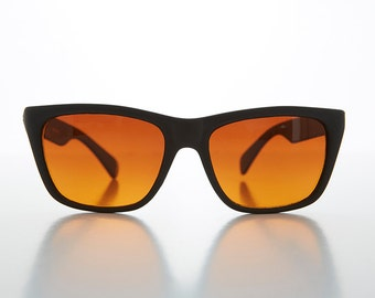 Sporty Horn Rim Classic Browline Vintage Sunglass with Amber True Blue Light Blocker Lens - Toni