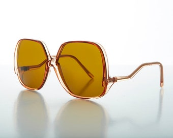 Vintage Jackie O Drop Temple Square Oversized Sunglass NOS-NANCY