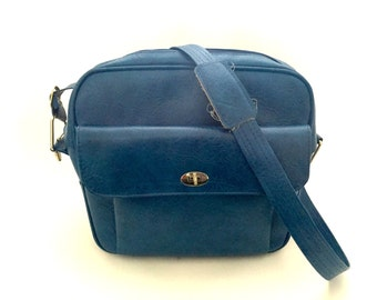 Vintage 60's Blue Messenger Bag, Airline Hostess Bag, Travel Bag, Carry-on Bag,Laptop Bag, Retro Travel Bag