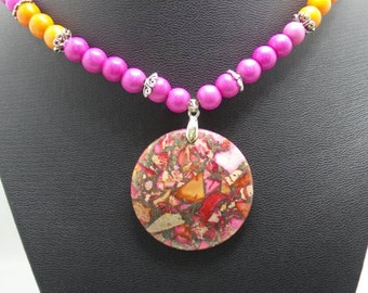 Handmade Pink and Orange Turquoise necklace with Sea Sediment Jasper pendant.