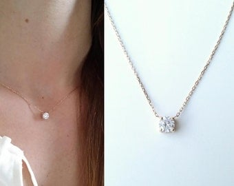 Solitaire - Gold plated necklace 750/000 & Crystal - adjustable size - solitary Necklace 750 yellow gold plated