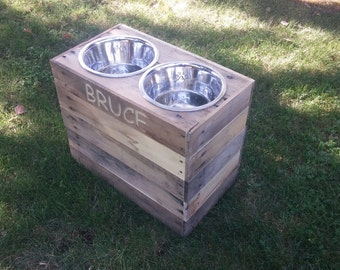 """15""""Tall Personalized Extra large dog bowl stand"""