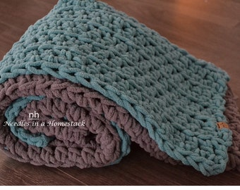 Crochet Plush Baby Blanket, Lap Blanket, Blue and Grey, approx 30x36