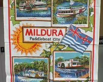 Vintage Mildura Paddleboat City Souvenir tea Towel. New.