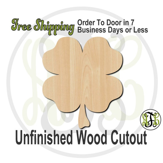 """4 Leaf Clover- 2"""" to 6"""" Minis- 120001- Shamrock Small Wood Cutout, unfinished, wood cutout, wood craft, laser cut, wood cut out, ornament"""