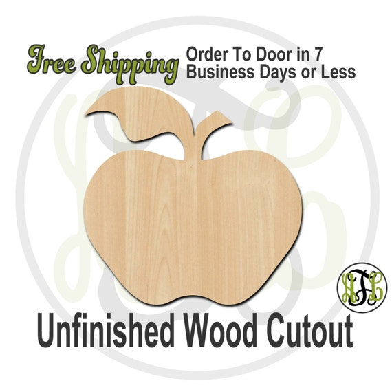 Apple - 28002- Fruit Cutout, unfinished, wood cutout, wood craft, laser cut shape, wood cut out, Door Hanger, wooden, blank