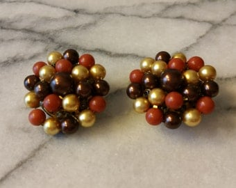 Vintage Japan Signed Gold and Brown Cluster Beads Clip On Earrings