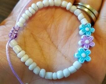 Baby Girl's Flower Bracelet, Baby Flower Bracelet, Toddler Flower Bracelet, Adjustable Baby Bracelet