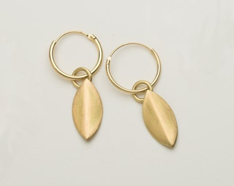 18 carat gold petal earrings on sleepers, dangle earrings, drop earrings