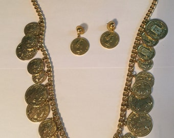 Republique Francaise chain link faux coin long necklace with matching earrings