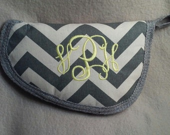 Gray chevron pistol case - Monogrammed Gun Case - Personalized gun case - also available in other chevron colors