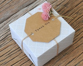 30 x Gift Tags with Strings / Kraft Tags & Jute Strings / Octagon