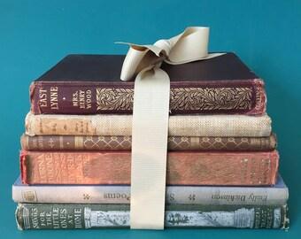 Vintage books in a stack.Decorative, original,