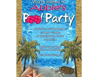 Pool Party Invitation - Digital Personalized Invite - Pool PartyInvite PP1