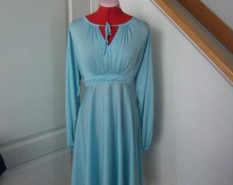 Tracy Vintage Robin Egg Blue Long Sleeve Keyhole Front A Line Dress-Circa 1980's- Size M