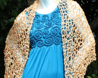 Crochet Shawl in Orange and Cream Ribbon Yarn