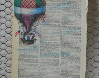 Hot Air Balloon Antique Dictionary Print