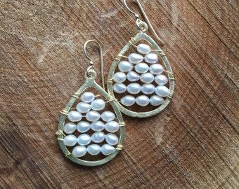 Rice Pearl Hoops, Pearl Earrings, Gold Earrings