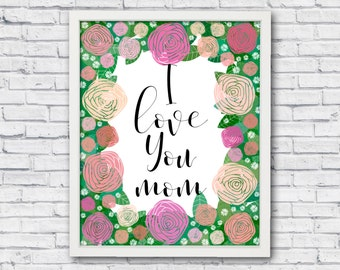 Mothers day from daughter, I love you mom, mothers day poster, mothers day gift, mom poster, mom wall art, with love for mom,