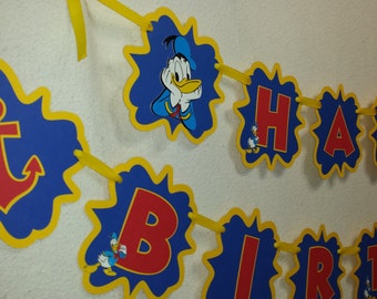 Donald Duck  Happy Birthday birthday Banner, Party Decorations,
