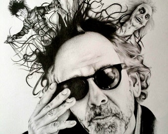Tim Burton Pencil Portrait Drawing Print